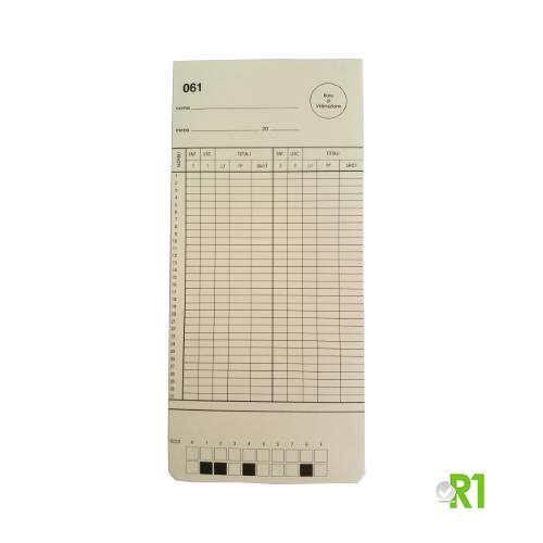 DTS1031-6180: N.100 Cartellini mensili per timbracartellino Solari DTS. Serie da 61 a 80.