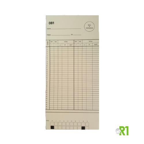 DTS1031-81100: N.100 Cartellini mensili per timbracartellino Solari DTS. Serie da 81 a 100.