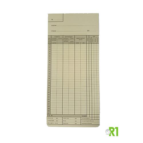 FS-31: N.500 Cartellini mensili timbracartellino EX9000, DTC, MEMOR 3815