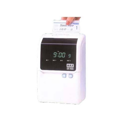 MAX1100: Electronic time recording 4 stamping. Automatic positioning 4 printing columns. Refurbished.12 months warranty.