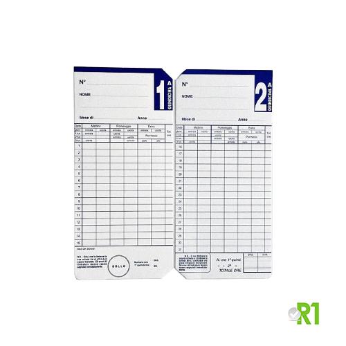 QR350-550-100: N.100 Cartellini quindicinali QR 350-550 per timbracartellini SEIKO QR.