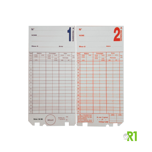 SX86-1-100: N.100 original fortnightly cards for time recorder model Saody